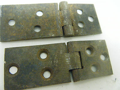 Antique 18th 19th Century Longcase Clock Iron Hinges Trunk Door Cabinet Box