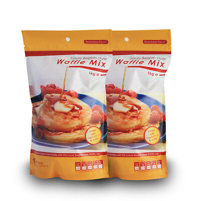 New Luxury Belgian Style Waffle Mix - 2 x 1kg Bags Waffle Mixture for Home Use