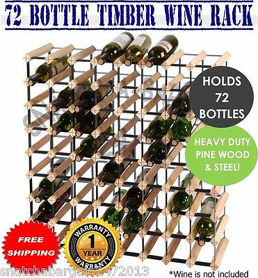 Timber Wine Rack Cellar 72 Bottle Home Business Wooden Storage Stand Organiser