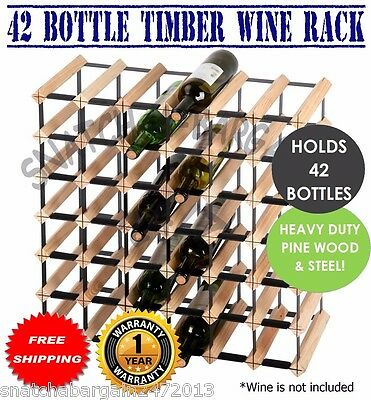 Timber Wine Rack Cellar 42 Bottle Home Business Wooden Storage Stand Organiser