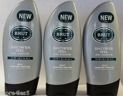 3 x Brut Original Shower Gel 250ml Masculine Fragrance Body Wash Brand New