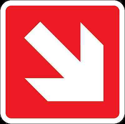 Health and Safety Fire Sticker Sign Fire Arrow Down Right Direction Sticker red