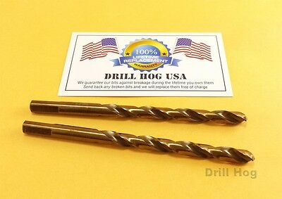 "Drill Hog USA 3/16"" 7/32 1/4"" Cobalt Drill (2 each) HSSCO M42 Lifetime Warranty"