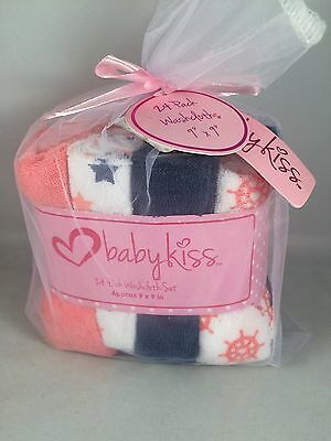 New Baby Kiss 24 Pack Washcloth Gift Set Girls Coral Blue Nautical Shower Anchor
