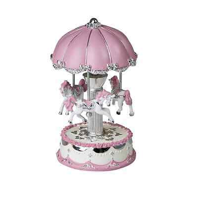 New Polyresin Carousel Pink Silver Tune Lights Small Baby Gift