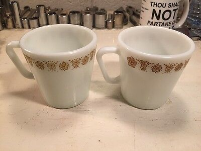 Vintage Pair Of Pyrex Milk glass Coffee Mugs! Brown Floral Design! Great Shape!