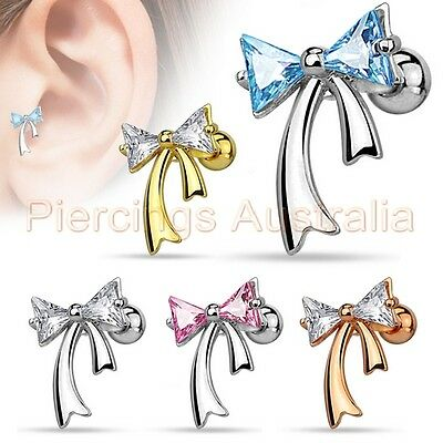 16G CZ Ribbon Cartilage Tragus Bar Ear Ring Piercing Stud Body Jewellery