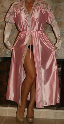 L Long Beautiful Shiny Pink Vintage Lingerie Slip On Robe / Peignoir