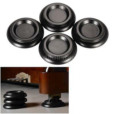 4pcs Upright Piano Castor Cups Furniture Bed Foot Protector SolidWood Black L6S1