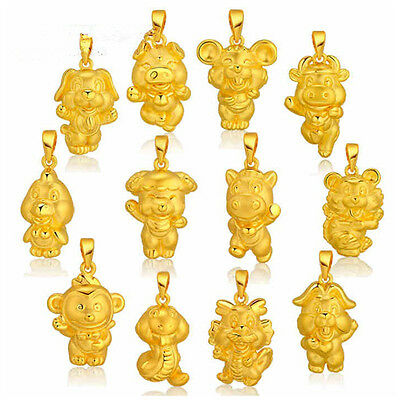 Special 3D Gold Plated Chinese 12 Zodiac Animals Pendant Fine Necklace Present h