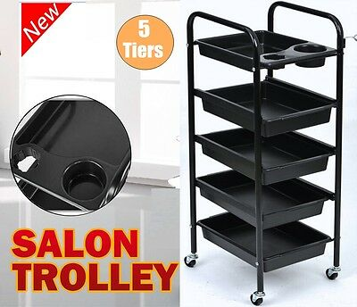 5 Tier Beauty Hairdresser Coloring Hair Salon Trolley Rolling Storage Cart Tool