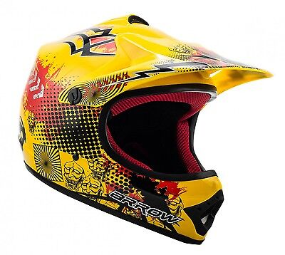 ARROW AKC-49 yellow Cross Motorradhelm Kinder Kinderhelm Crosshelm - XS S M L XL