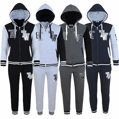 Kids University Print Tracksuit Boys Girls Jogging Bottoms Hooded Top 3-16Y