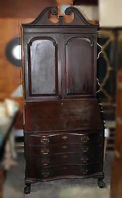 Vintage Chippendale Blind Door Mahogany Secretary with Hutch