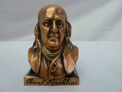 Benjamin Franklin Copper Plated White Metal Coin Bank A.c.r. Limited,Chicago Ill