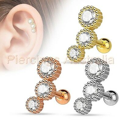 16G CZ Tragus Cartilage Barbell Ear Ring Bar Piercing Stud Body Jewellery