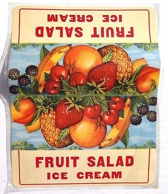 Vtg Fruit Salad Ice Cream Advertising Sign / Poster / Lithograph 13X17