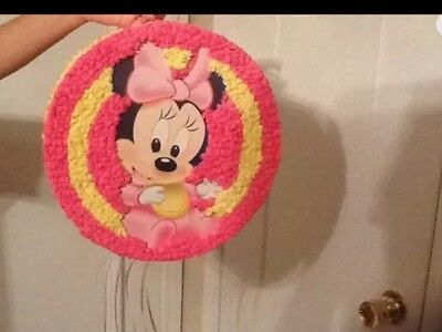 Baby Minnie Mouse Pull String Birthday Party Pinata New