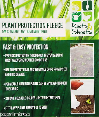 5x1m Delicate Plant Soft Fruit Frost Fleece Protection Blanket Cover Permeable