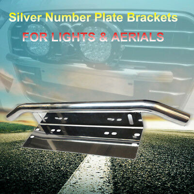 Number Plate Frame BullBar Mount Bracket LED Driving Light bar Holder Silverspot