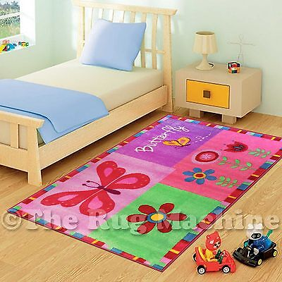 COOL FLOWERS & BUTTERFLY KIDS FUN PLAY RUG 133x200cm NON-SLIP & WASHABLE **NEW**