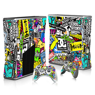 Vinyl Sticker Skin Decal Cover for Xbox 360 Slim Console and Controllers -1501