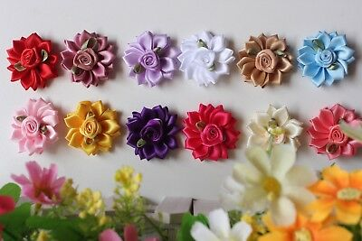 12x DIY Mini Daisy Fabric Flower Embellishment Craft Applique Baby Headband Clip