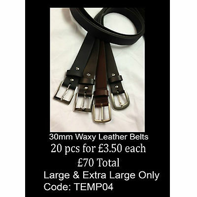 Wholesale Mix Lot Offer Of 30mm Waxy Real Leather Belts Made In England TEMP04