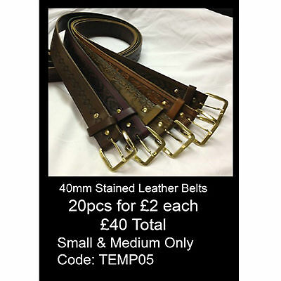 Wholesale Lot Offer Of Mix 40mm Stained Leather Belts Made In England TEMP05