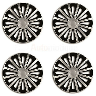 "TREND 15"" Car Wheel Trims Hub Caps Plastic Covers Set of 4 Black Universal fit"