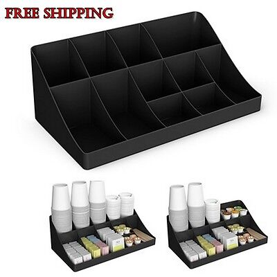 Break room Organizer Condiment Coffee Cup Tea Kitchen Holder Office Tray Black