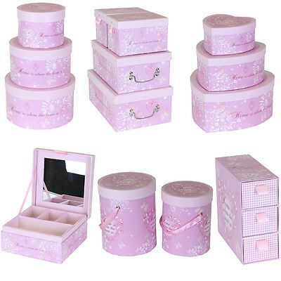 JVL Pink Heart and Home Jewellery Make-up Storage Boxes