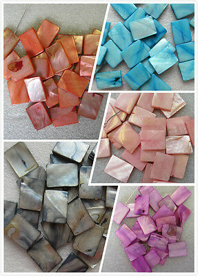 20 - 40 - 50 Mother of Pearl Rectangular Beads 20 x 26mm 11 Colours Craft