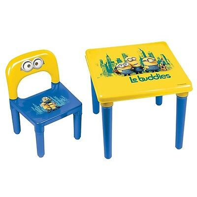 Minions Kid's Plastic Play Activity Table and Chair Set Children's Indoor Desk