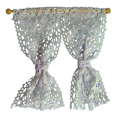 12th Scale White Net Curtains & Pole For Dolls Houses D1207