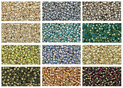 TOHO Gold / Silver Lined Japanese Seed Beads size 11/0, choose colour - 10 grams