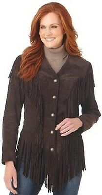 CRIPPLE CREEK Women's Ghost Rider Brown Suede Fringe Leather Jacket LL69461 NWT