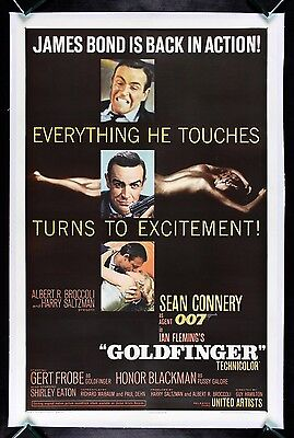 GOLDFINGER * CineMasterpieces 1964 JAMES BOND 007 ORIGINAL MOVIE POSTER