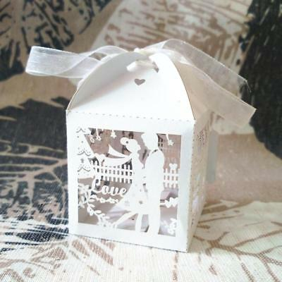 50Pcs Laser Cut Bride Groom Wedding Party Favor Ribbon Candy Gift Boxes