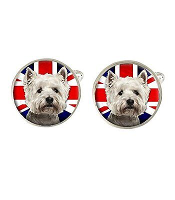Westie Dog With Union Jack Flag Cufflinks Wedding Birthday Fathers Day C277