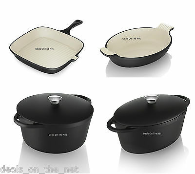 Tower Cast Iron Casserole Dish Oval Roaster Oven Proof Square Grill Pan Pot