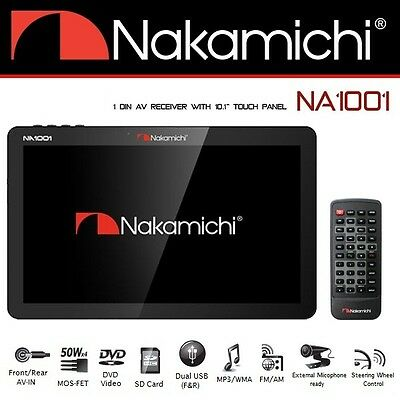 "Nakamichi NA1001 1 Din with 10.1"" Touch Panel Bluetooth USB Car Stereo Player"