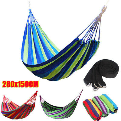 Double Hammock Bed Swinging Camping Hanging Cotton Fabric Rope & Hooks Tool Kit