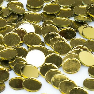 25mm ROUND GLASS GOLD MIRROR TILES - 80 PIECES
