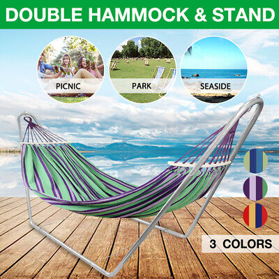 Outdoor Double Rope Hammock Bed Swinging Camping Strong Hanging Tree Strap Hooks