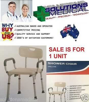 Deluxe Shower Bath Chair Stool, Adjustable Heights, Removable Back Lightweight