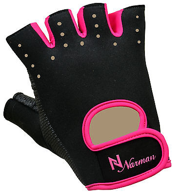 Pink Proworks Womens Padded Grip Fingerless Gym Weight Lifting Exercise Gloves