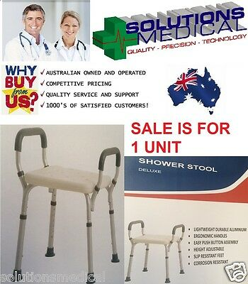 Deluxe Shower Bath Stool Chair , Adjustable Heights, Removable Back Lightweight