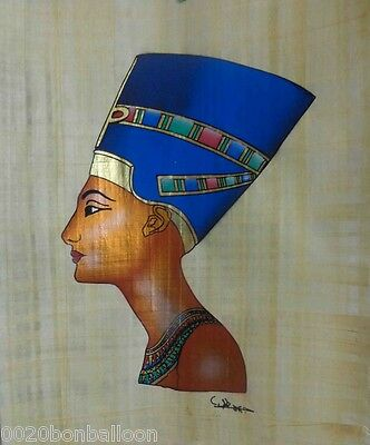 "Pharaoh Egypt Queen Nefertiti Original Hand Painted Papyrus 12""x16"" (30x40 CM)"