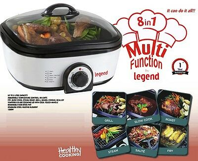 8 in1 MULTI FUNCTIONAL COOKER SLOW COOK STEAM GRILL ROASTING FRYING BAKING 1300w